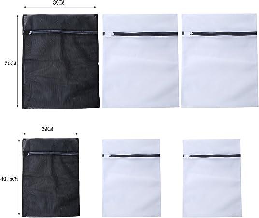 Blanc+Noir Hengsong Sacs /à Linge//Maille Sacs De Lessive//Filet /à Linge 6//pcs ou 5//pcs