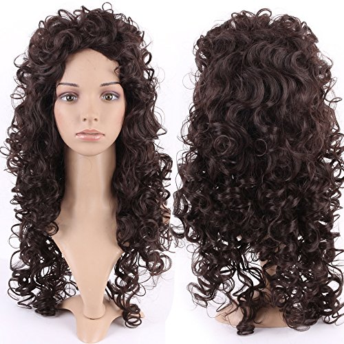 S-noilite Women Long Curly Hair Wig Outre Kinky Cosplay Anime Party Costume Brown Wigs (Kinky Costumes)