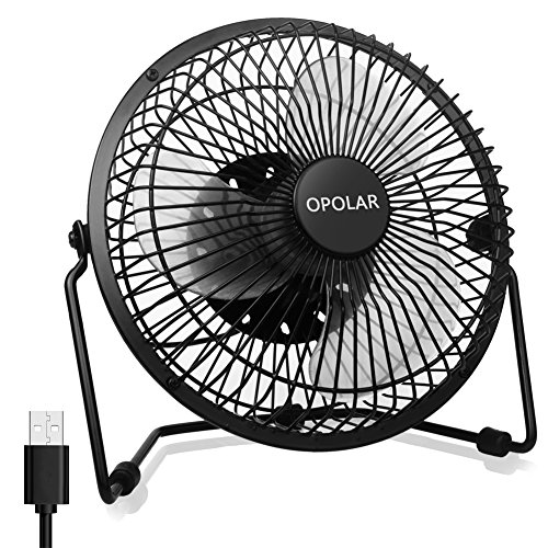 OPOLAR Office Quiet Desk Fan, USB Powered Only, 360 Degree Rotation, Perfect Personal Fan, Mini Metal Cooling Fan Dorm Office Table - 5V 6 inch Enhance Airflow (Black) ()