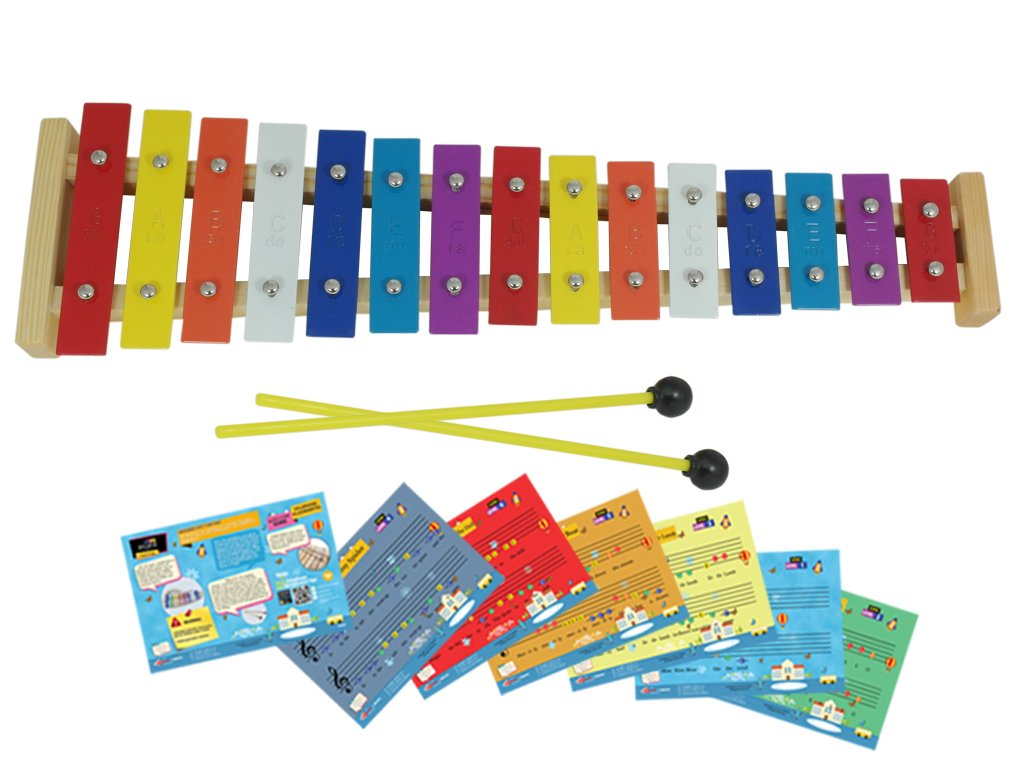 D'Luca TL15A 15 Note Children Xylophone Glockenspiel with Music Cards D'Luca