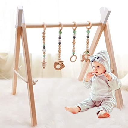 Baby Foldable Wooden Play Gym//3 Theething Gym Toys Frame Activity Gym 60*56*40cm