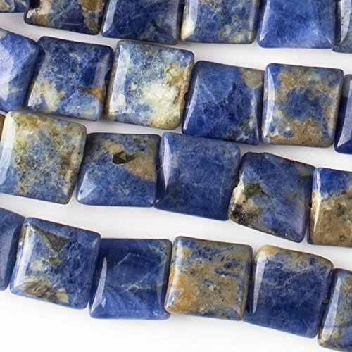 Cherry Blossom Beads Sodalite Beads 10mm Smooth Square - 8 inch strand