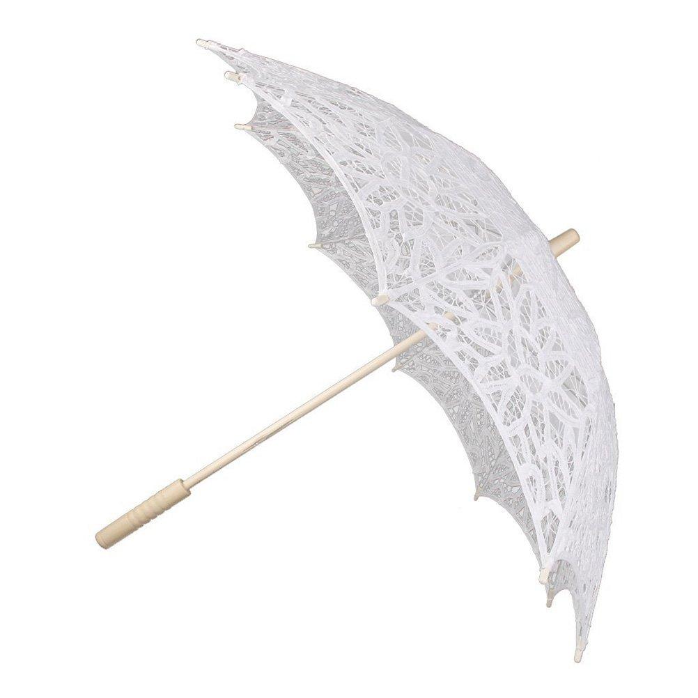 PIXNOR Parapluie de mariage nuptiale lacet coton (blanc)