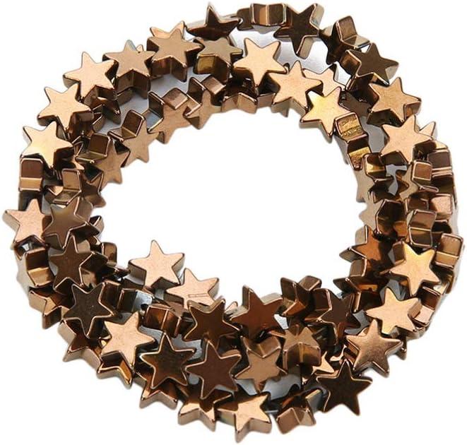 SUPVOX 1 Juego de Piedras Preciosas de Hematita Cuentas de Estrellas Sueltas Cuentas de Joyería Diy Que Hace Accesorios (Marrón 10Mm 38 Granos)