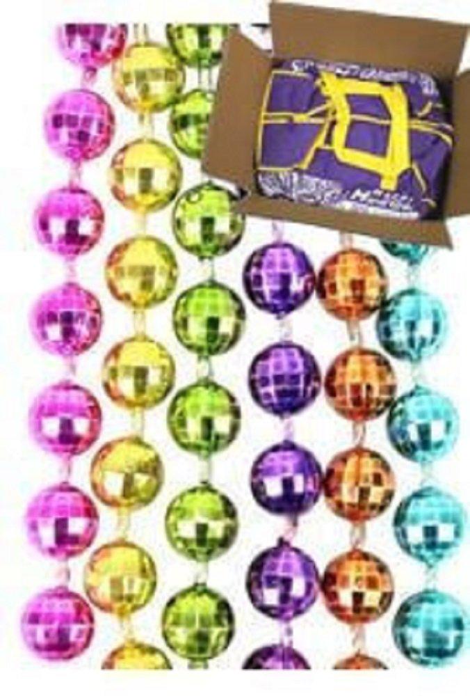 Mardi Gras, Neon 6-Color Disco Ball Beads, 7 mm, 33'', 60 Dozen (720pcs). by EUR001 (Image #1)
