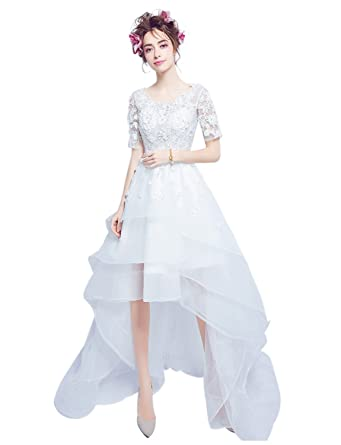 7c0dba704536 Erosebridal Short Front Long Back Wedding Dress With Short Sleeve Lace  Appliques Bridal Gowns White S