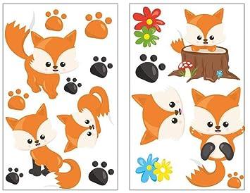 Samunshi 17 Teiliges Susse Fuchse Wandtattoo Set Kinderzimmer