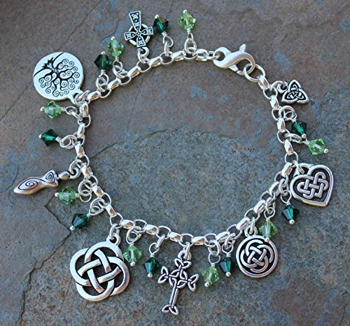 Silver Plated Deluxe Celtic Knots Charm Bracelet, Heavy Sterling Silver Chain, Green Crystals- Size XL (8.5 Inches (Extra Large)) by Night Owl Jewelry (Image #1)