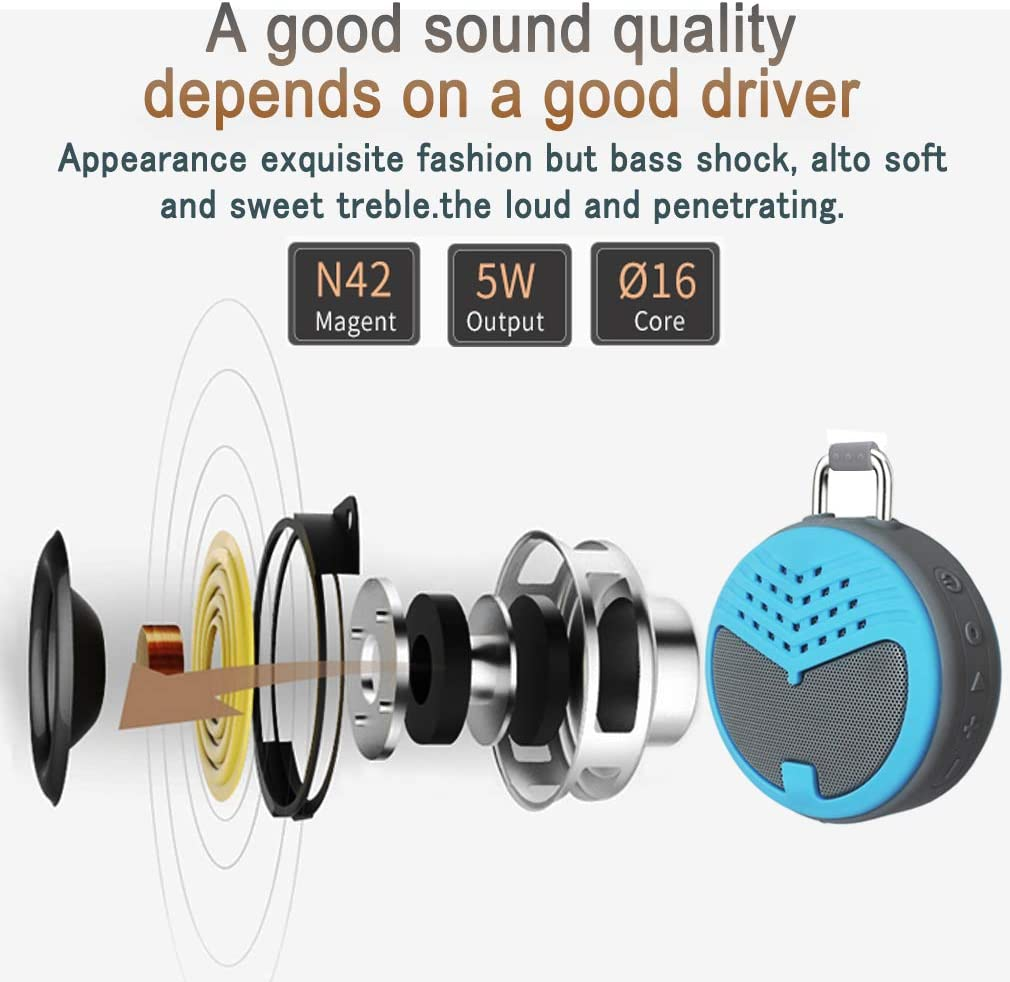 Enhanced Bass EOUER Wireless Mini Bluetooth 4.1 Speaker,Portable Waterproof Shower Speaker with 5W Driver,Outdoor Travel Speaker with Subwoofer Built-in Mic Green