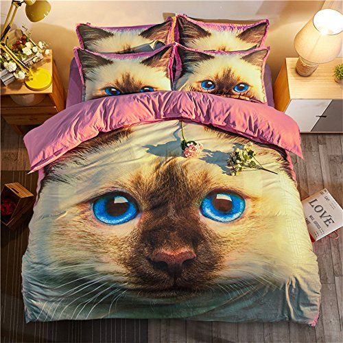 Amazing Smart Pink Cat Cotton Microfiber 3pc 90''x90'' Bedding Quilt Duvet Cover Sets 2 Pillow Cases Queen Size by DIY Duvetcover