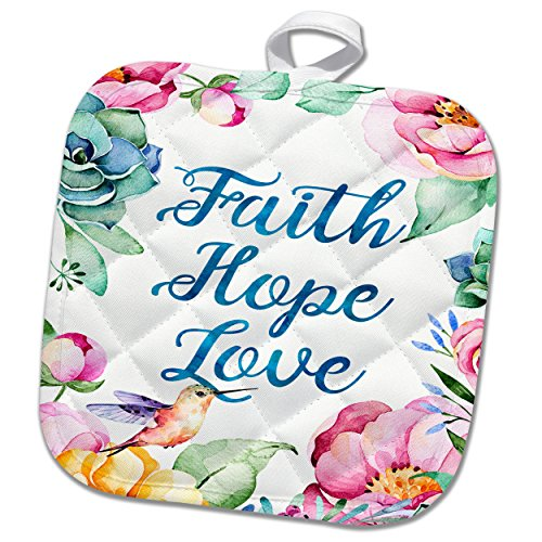 Faith, Hope, Love Surrounded By Pretty Pastel Watercolor Flowers