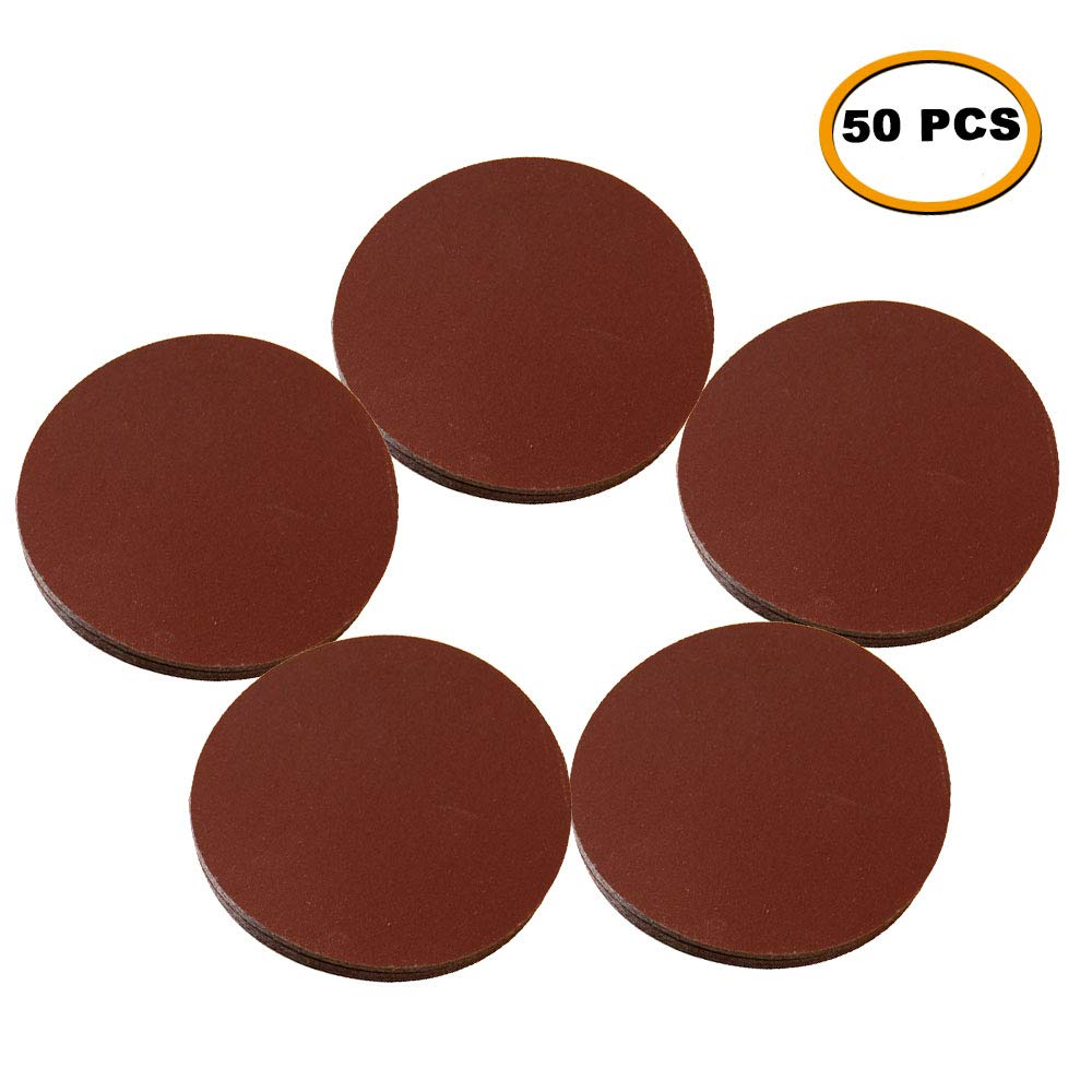 "SHINA 50pcs 7"" 80 GRIT Sanding Discs Hook Loop Backed Aluminum Oxide Sandpaper"