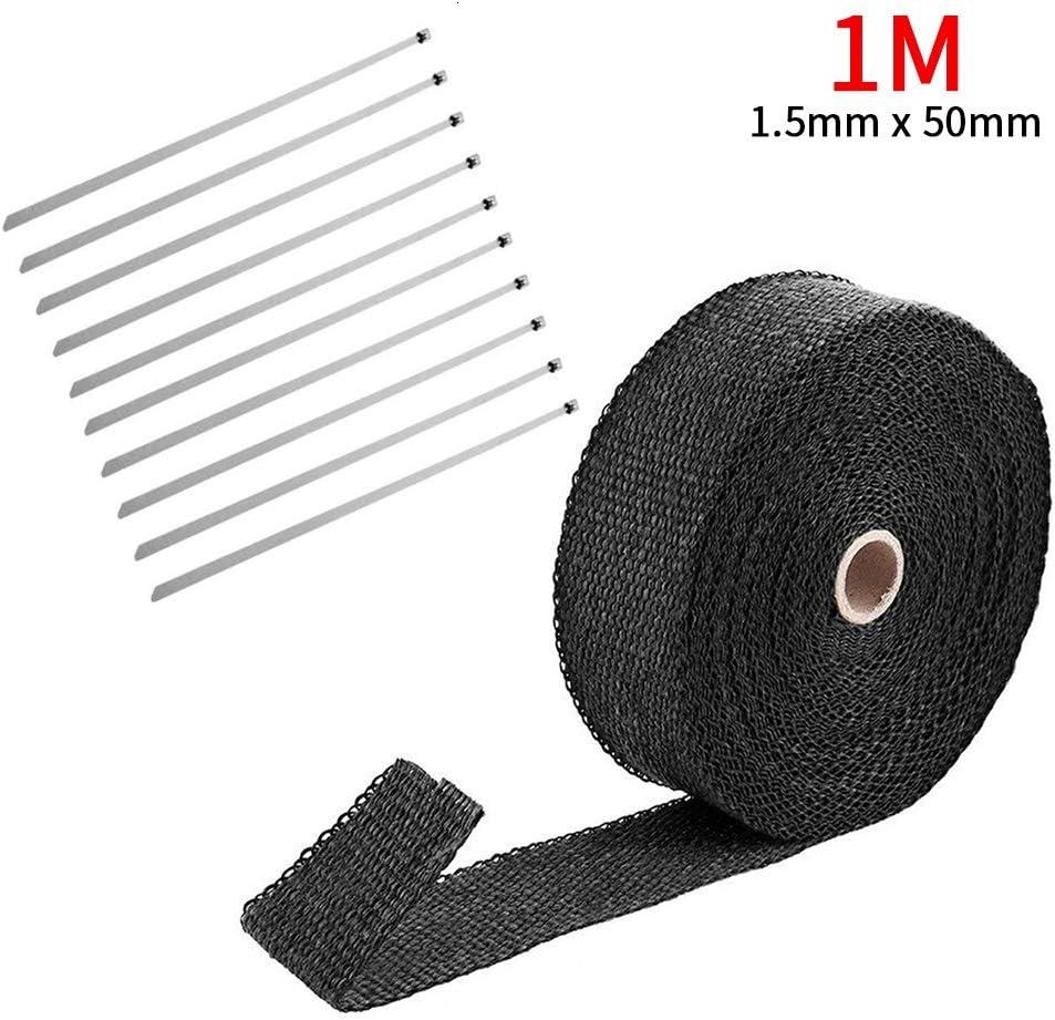 Bande de voiture noire en fibre de verre Ruban 51mm Largeur Moto Heat Shield Wrap Turbo /échappement Bande Echappements t/ête disolation en fibre de verre Tissu Rouleau /à r/ésistance thermique avec lac