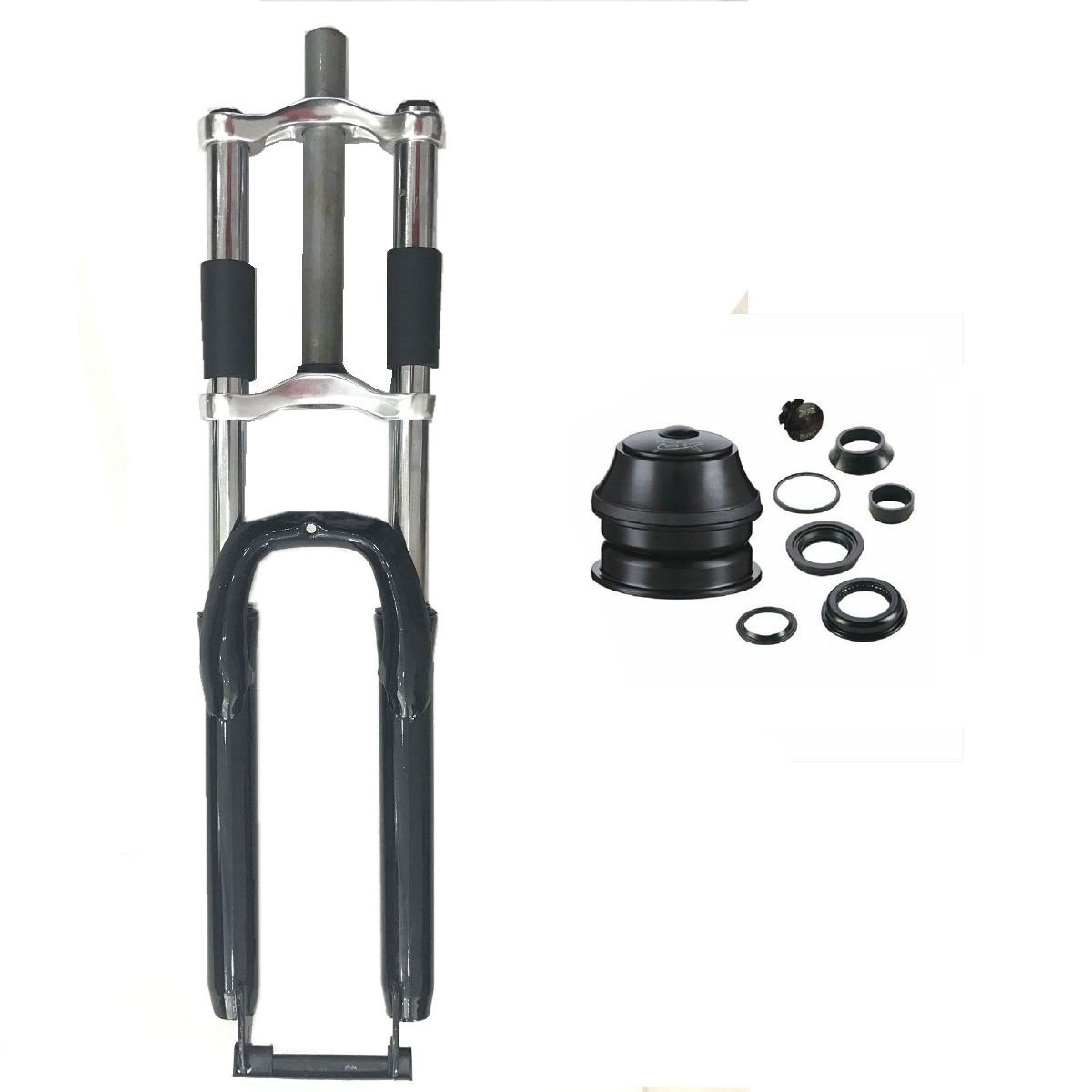 CDHPOWER Bicycle Black Fork 26'' and 1 1/8'' Headset Combo- Triple Tree Suspension Fork w/Double Shoulder-Gas Motorized Bike
