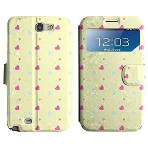 Be-Star Diseño Impreso Colorido Slim Casa Carcasa Funda Case PU Cuero - Stand Function para Samsung Galaxy Note 2 II / N7100 ( Pink Hearts )