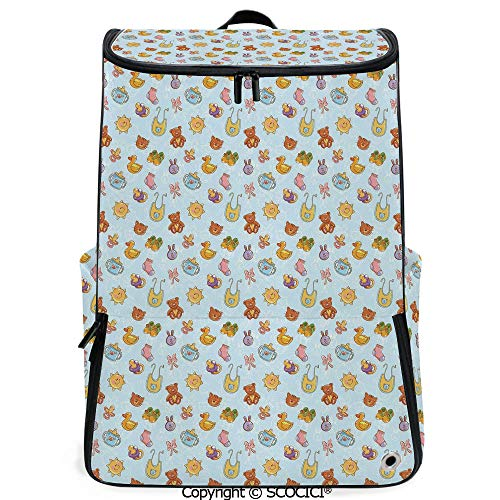 SCOCICI Multi Pocket Backpack,Newborn Sun Teddy Bear Ribbon Feeder Pacifier Chick Kitty Cat Design Decorative,Pale Blue Cinnamon Apricot,Daypack for Men/Women Hiking