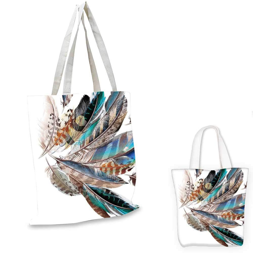 12x15-10 Feather House Decor canvas messenger bag Vaned Types and Natal Contour Flight Feathers Animal Skin Element Print canvas beach bag Teal Brown