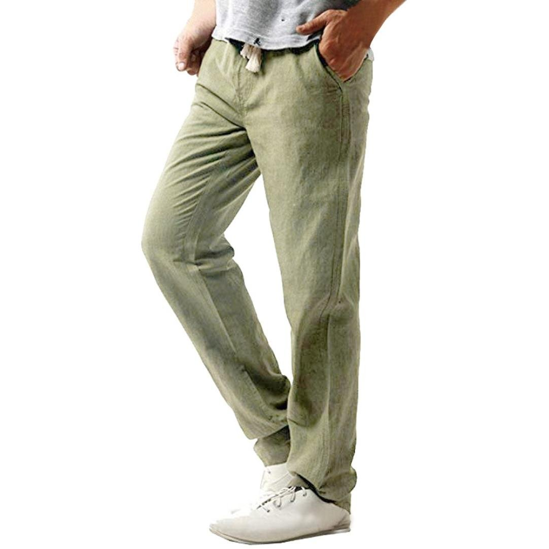 Hombres Long Pantalones, Manadlian Pantalones Largos Casuales de Hombres Slim Strandhosen Pantalón de Mangas de Lino Pantalones Sólidos Manadlian_Hombres Pantalones