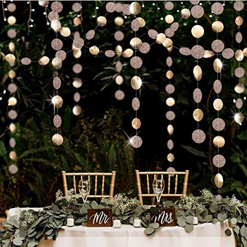 Wedding Reception Decor (Glitter Champagne Gold Decorations Paper Circle Dots Garland Party Streamers Bunting Backdrop Hanging Decor Banner/Wedding/Bachelorette/Bridal Shower/Christmas/New)