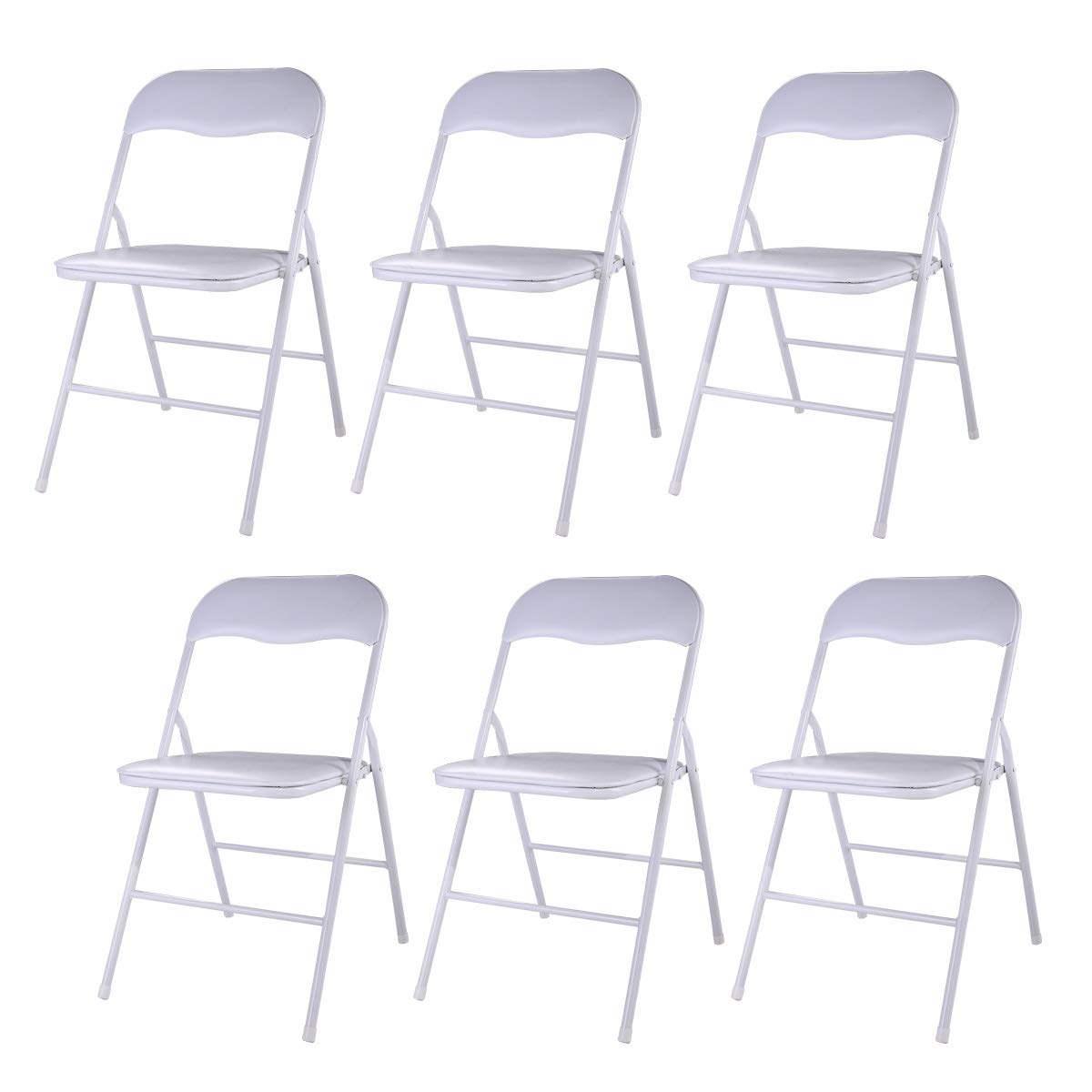JAXPETY New Set of 6 PCS Plastic Folding Chairs Wedding Party Event Chair Commercial White w/Soft Cushion by JAXPETY