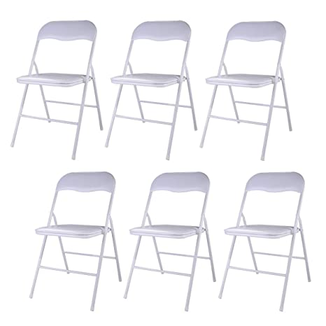 Awesome Tobbi 6 Pack Commercial White Plastic Folding Stack Able Wedding Party Event Chair White Evergreenethics Interior Chair Design Evergreenethicsorg