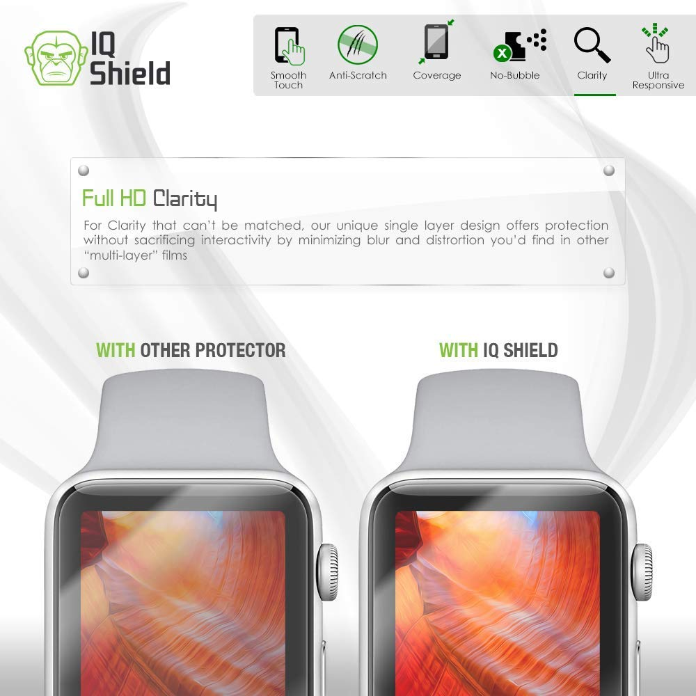 Apple Watch Screen Protector (38mm)(Apple Watch Nike+, Series 3/2/1 Compatible)[Ultimate](6-Pack), IQ Shield LiQuidSkin Full Coverage Screen Protector [HD Clear Anti-Bubble Film] by IQShield (Image #8)