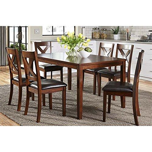 Liberty Furniture INDUSTRIES 164-CD-7RLS Russet Finish Thornton Dining 7-Piece Rectangular Table - Glass Russet Finish