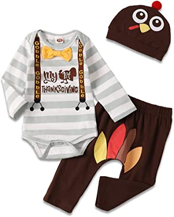 US My First Thanksgiving Outfits Newborn Boy Baby Girl Ropmer Pants Clothes 3PCS