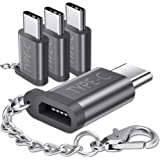 JSAUX USB Type C Adapter,4-Pack Aluminum USB C to Micro USB Convert Connector with Keychain Charger Compatible Samsung Galaxy S9 S8 Plus Note 9 8,Pixel 2 XL,LG V20 G5,Moto Z Z2,Nintendo Switch(Grey)