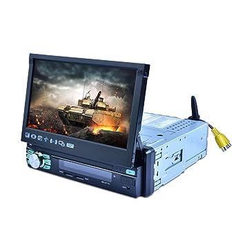 """YVSoo 1 DIN Navegador GPS Autoradio Pantalla Retráctil para Coche, 7"""" 1080P Bluetooth Reproductor"""