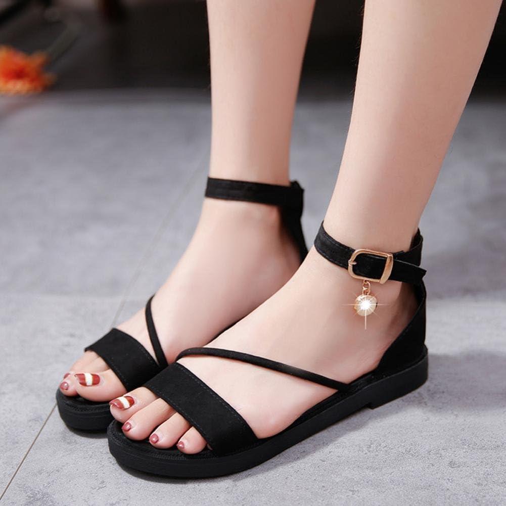 Inkach Women Flat Sandals Ankle Wrap Shoes Flip Flops Fashion Peep-Toe Summer Sandals