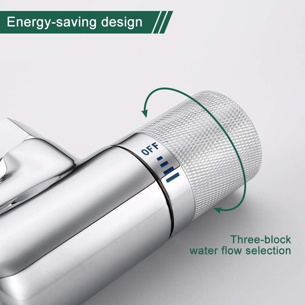 AiHom Thermostat Badewannenarmatur Chrom Wannenarmatur mit 40/°C Sicherheitsknopf Wannenthermostat Wannenbatterie f/ür Dusche und Badewanne