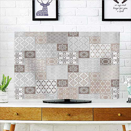 (L-QN Protect Your TV Oriental Motif Pastel Patchworkwith Filigree Ornaments Protect Your TV W30 x H50 INCH/TV 52