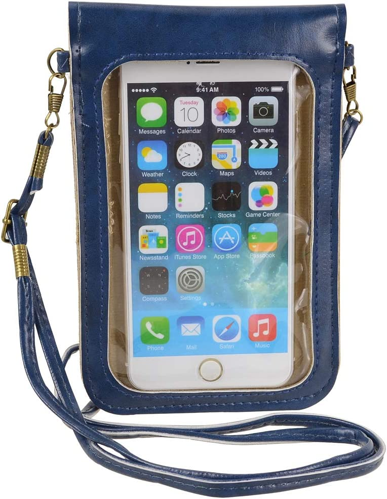 Touch Screen Cell Phone Purse Wallet Cute Small PU Leather Crossbody Bag for iPhone 11 XR XS Max 8 Plus 7 Plus, Galaxy Note10 A20 S10 Plus S9 Google Pixel 3a Xiaomi Mi 9T Redmi Note 6 Pro (Blue)