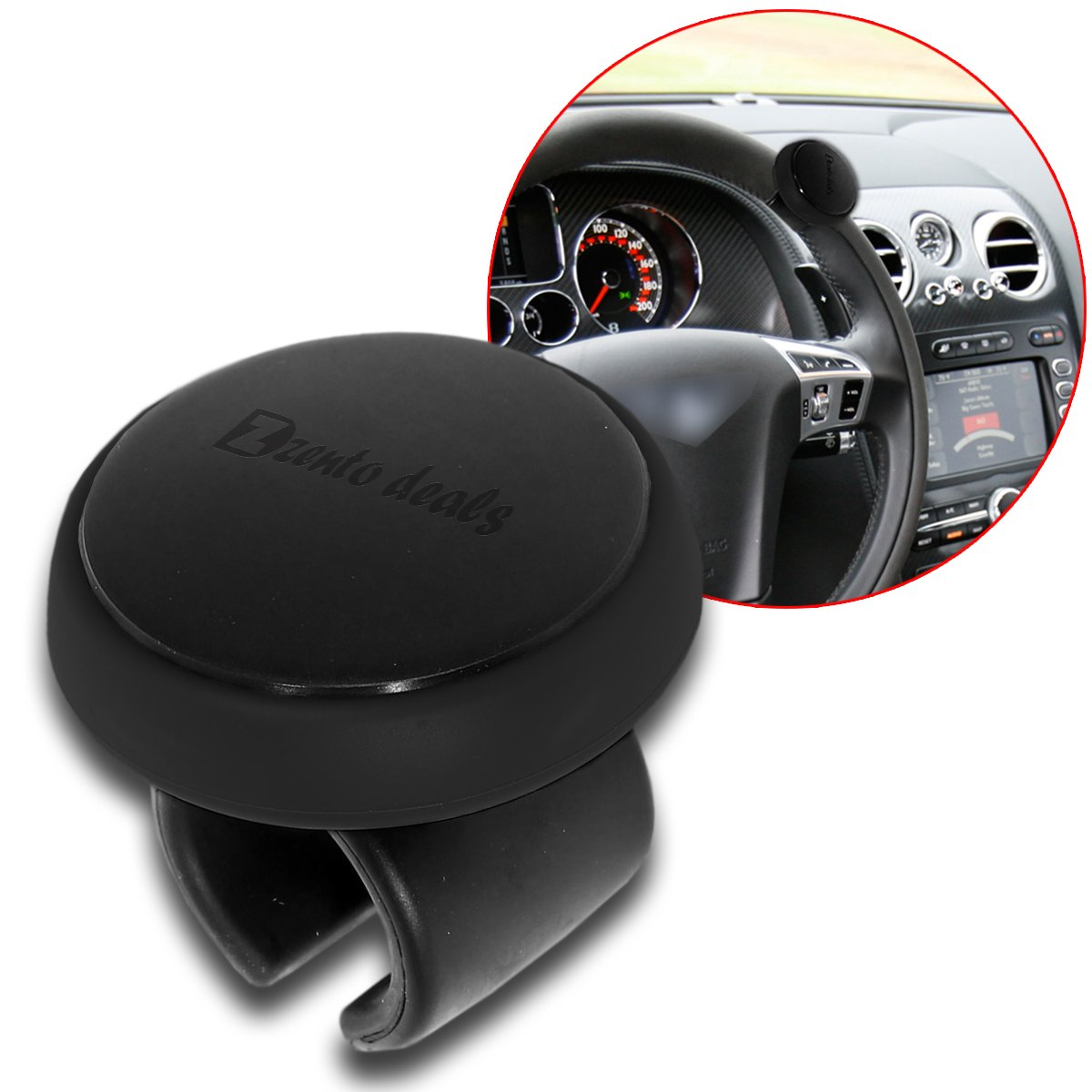 Zento Deals Premium Quality ABS and Silicone Material for Comfortable Grip Safe Driving Disabled Steering Wheel Spinner Knob