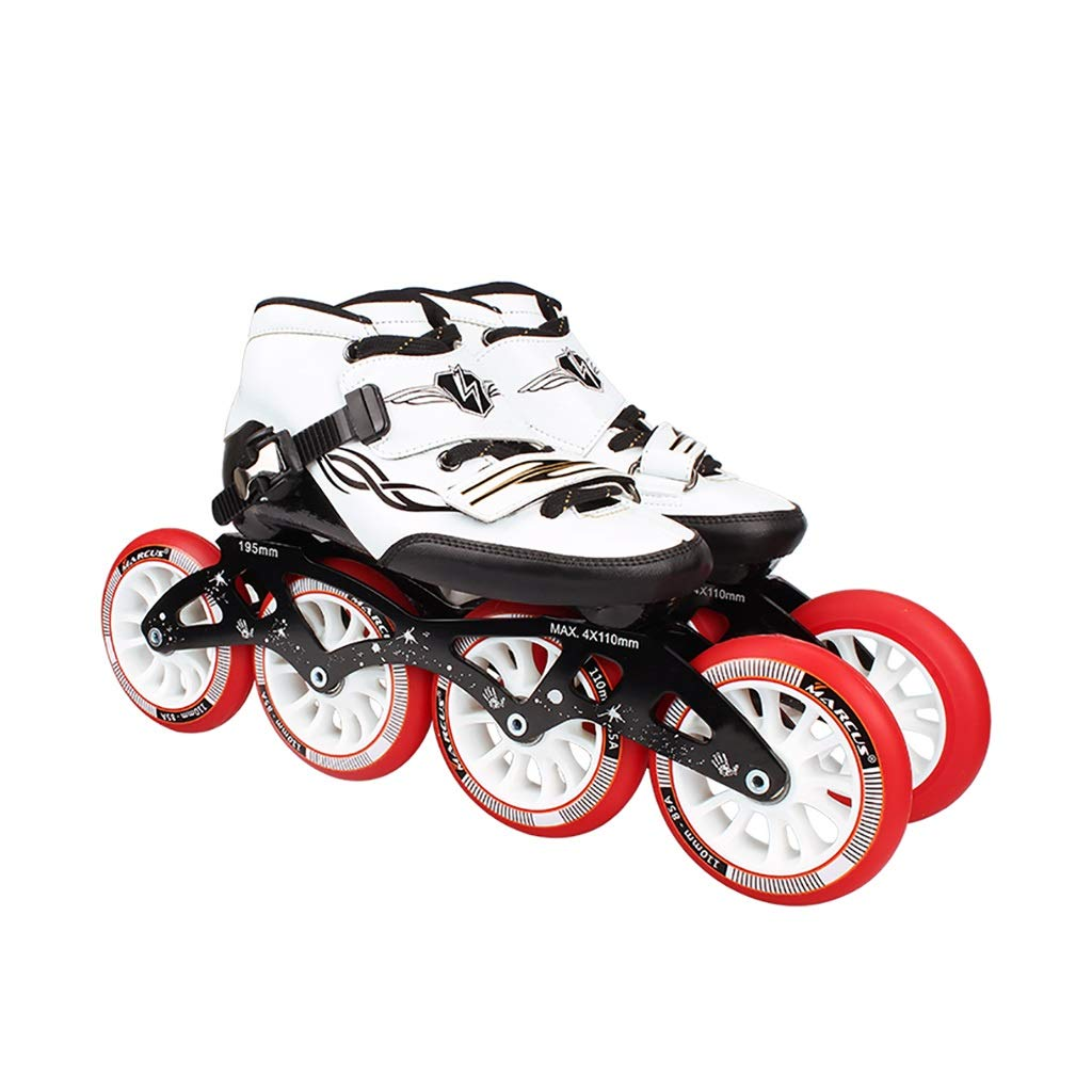 NUBAOgy インラインスケート、90-110ミリメートル直径の高弾性PUホイール、4色で利用可能な子供のための調整可能なインラインスケート (色 : イエロー いえろ゜, サイズ さいず : 45) B07HQDKHBQ 45 Red Red 45