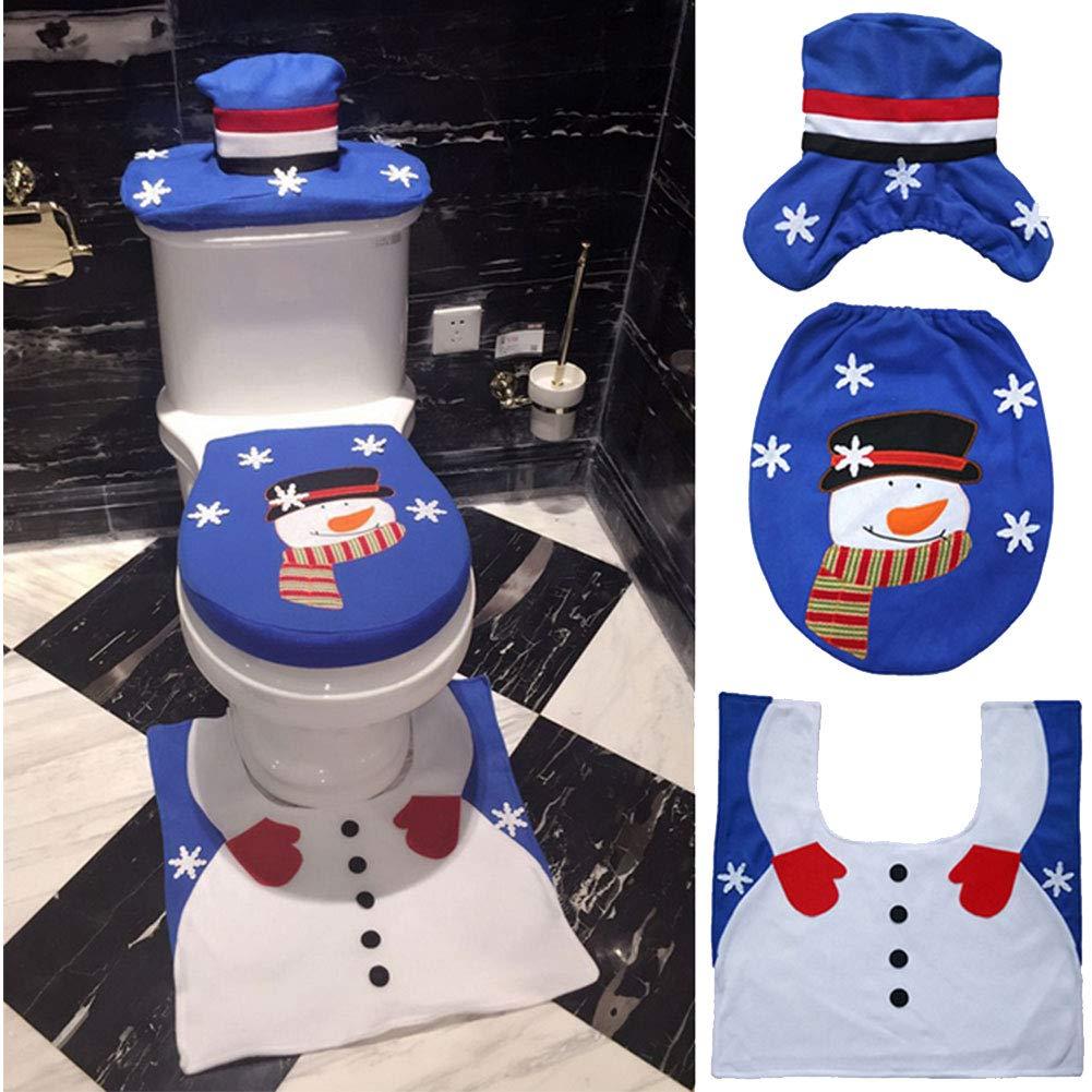 Beito 1 Conjunto de Navidad de Asiento de Inodoro Cubierta Decoraci/ón Creativa del dise/ño del Sombrero del mu/ñeco de Nieve del Inodoro Tapa Tapa WC Navidad