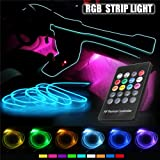Car LED Strip Light - Music RGB Neon Strip Lights - 5 IN 1 With 6 Meters/236.22'inch, Interior Decor Atmosphere Strip Lamp, Sound induction Active Remote Control Rhythm Light (Color: RGB)