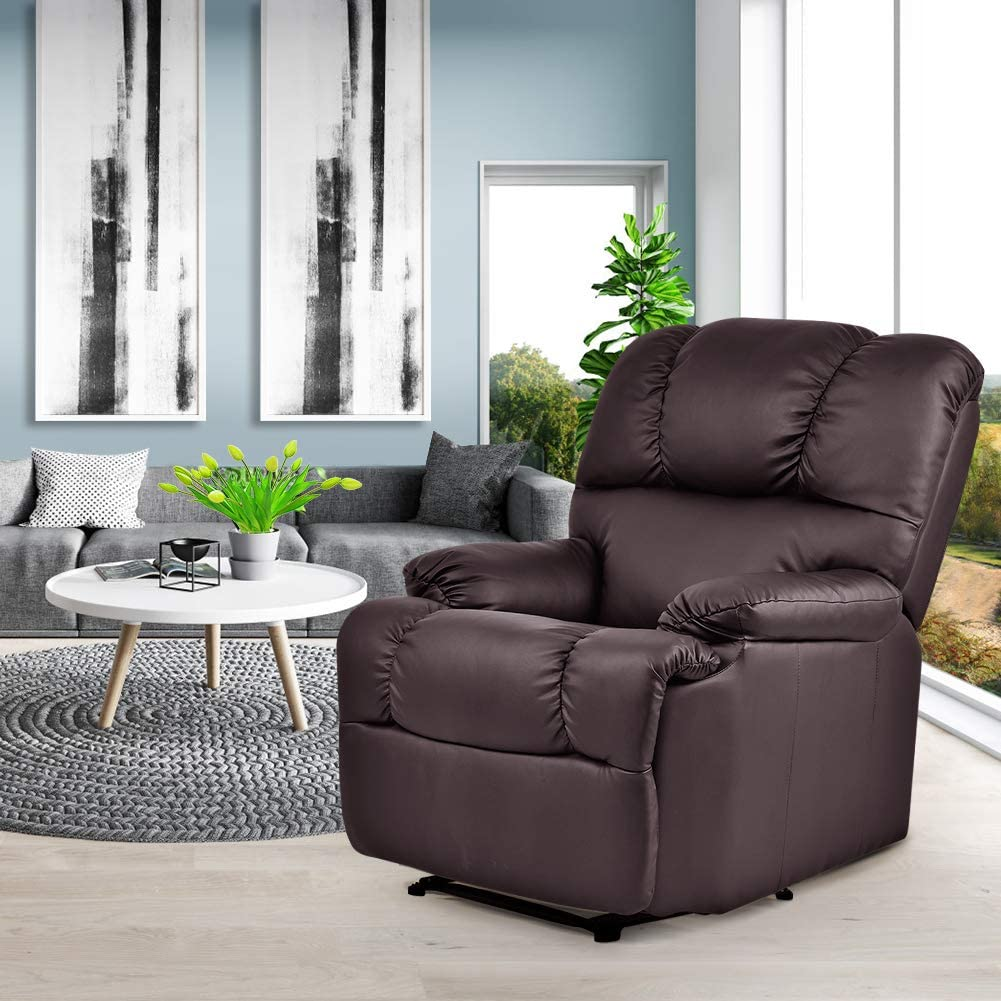 Massage Recliner Chair with Heat and Vibrating, WATERJOY Full Body Leather  Massage Chair with Control Black Sofa Chair Recliner for Living Room