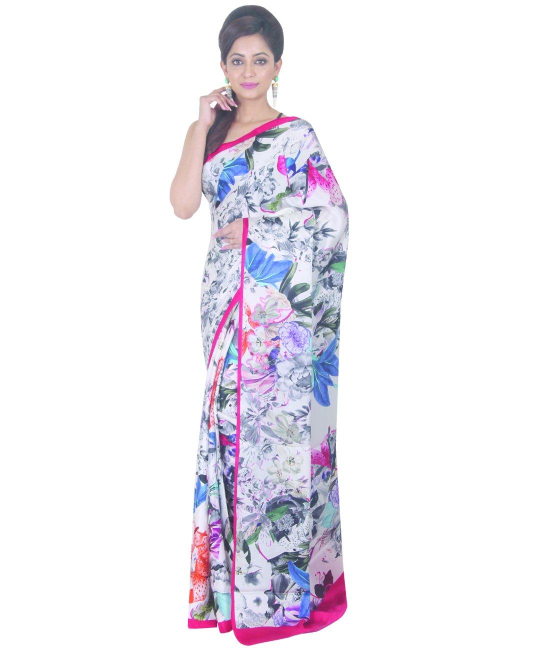 Indian Ethnic Crepe Multicolour Printed Saree by Simaaya Fashions Pvt Ltd (Image #1)