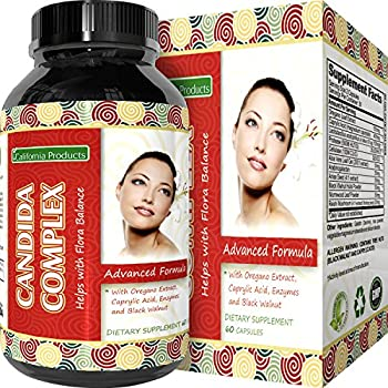 Natural Candida Cleanse – Yeast Detox Supplement with Probiotic + Oregano Leaf Oil Extract – Pure Formula for Yeast Infection Support for Men + Women – Cleanser and Weight Loss – California Products