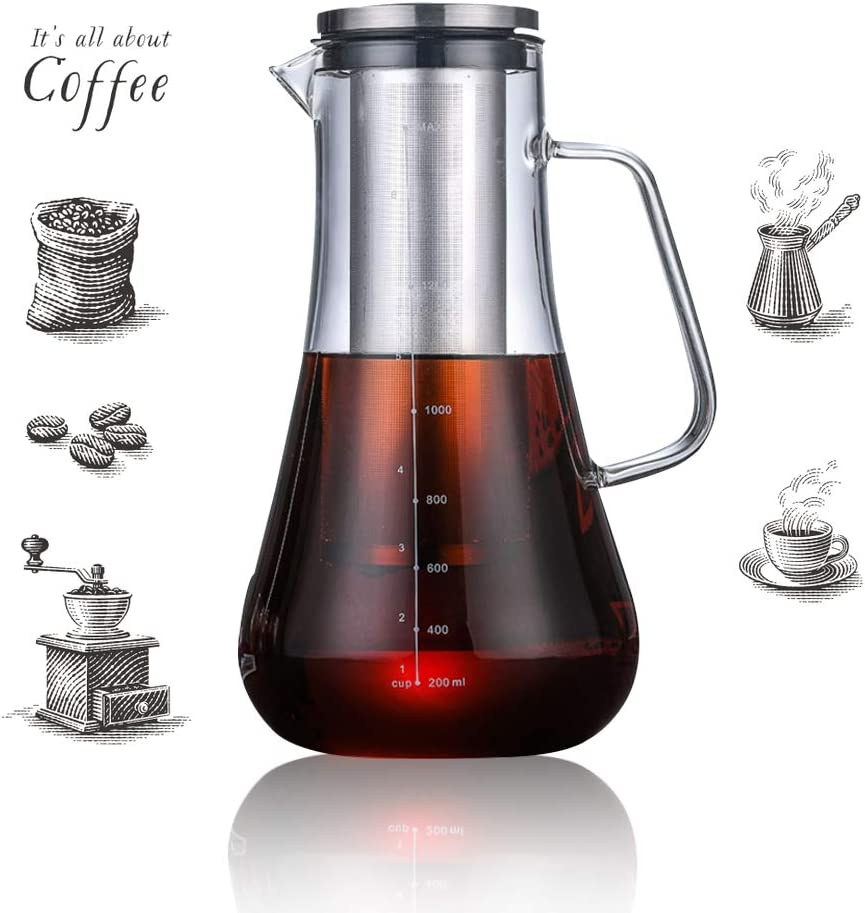 Beverg Cold-Brew 1.2L Iced-Coffee-Maker Glass-Carafe with Tea Infuser Airtight Lid Removable Stainless-Steel Filter Dishwasher Safe