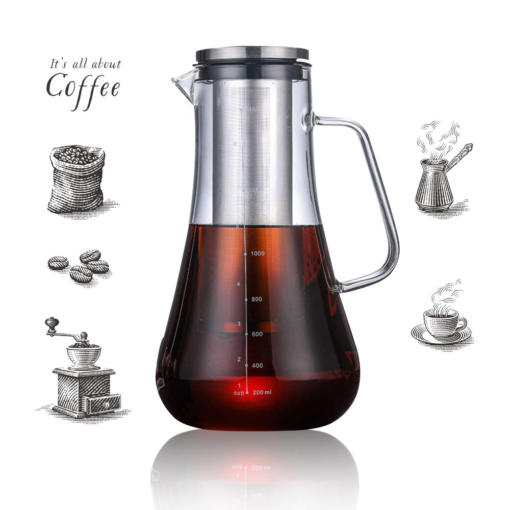 Beverg Cold-Brew 1.2L Iced-Coffee-Maker Glass-Carafe with Tea Infuser Airtight Lid Removable Stainless-Steel Filter Dishwasher Safe by Beverg