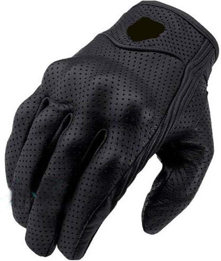 Alician 1 par de guantes de cuero negro para montar en bicicleta, motocicleta, armadura protectora de malla sólida para carreras, artículos de auto