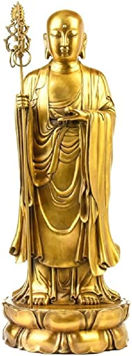 LuckyBuddha Statue Ksitigarbha Figurine,Handmade Brass Buddhist Statues and Sculptures for Home Office Decor Feng Shui Products 9.5 inches Tall