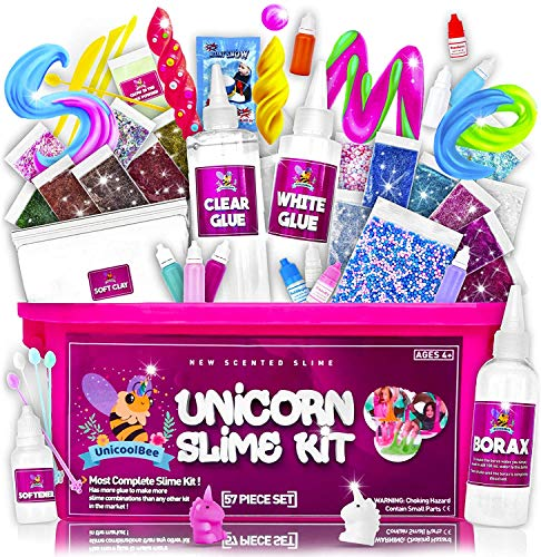 Unicoolbee Unicorn Slime Kit for Girls 57pcs -Slime Making Kit and Slime Supplies Kit -2 in 1- Unicorn Gifts for Girls - Birthday Gifts, Toys for 7 to 12 Year Old Girls