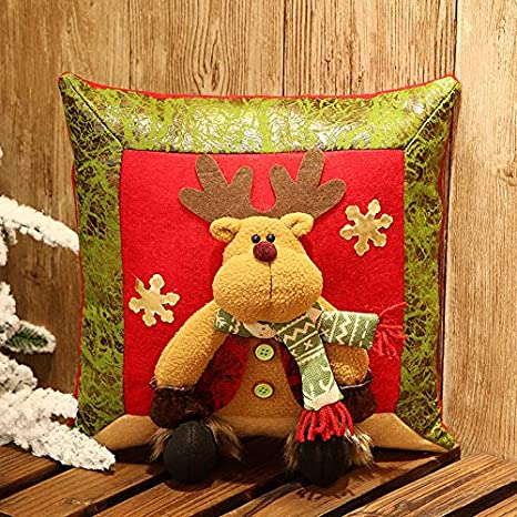 CXMASS Decoración de Navidad Muñeco de Nieve Old Deer Cojín ...