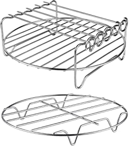 XL Air Fryer Accessories-Air Fryer Rack Set of 2, MFTEK Multi-purpose Double Layer Rack with Skewer, Compatible with XL Power Airfryer Philips (Renewed)