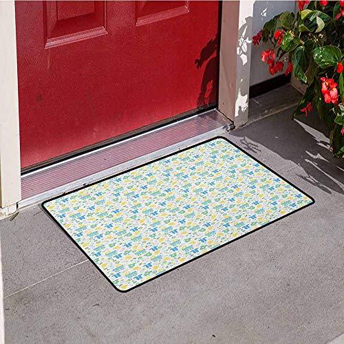 GloriaJohnson Baby Commercial Grade Entrance mat Retro Newborn Items Stroller Rubber Duck Milk Bottle Pin Pyjamas Pattern for entrances garages patios W15.7 x L23.6 Inch Blue Yellow Mint Green