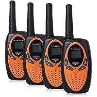 $34 » FLOUREON 4 Pack Kids Walkie Talkies 22 Channel Two Way Radios Long Range 3000M (MAX 5000M Open Field) UHF Handheld Outdoor Walkie Talky (Orange)